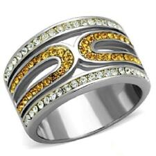Stainless Steel Topaz Round Costume Rings