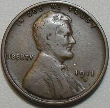 1911-D 1C Lincoln Cent, Wheat Penny, Copper, #9010