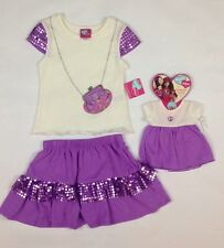 "What A Doll Matching Doll Purple Shirt Skirt Set Fits 18"" Doll XS 4/5 New"