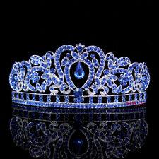 Kids Blue Heart Girl Children Wedding Prom Tiara Crown Headband - Kid Size