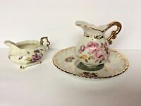 """Fine China 3pc Set 3.5"""" Pitcher 6"""" Saucer 2.25"""" Creamer Floral With Gold Trim"""