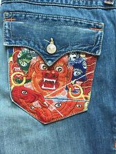 Mens True Religion Billy Embroidered Dragon Flap Pocket Mens Jeans 34 x34