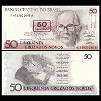 BRAZIL 50 CRUZEIROS ON 50 CRUZADOS NOVOS 1990 UNC 5 PCS CONSECUTIVE LOT P-223