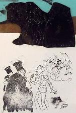 Ancien cliché d'imprimerie caricature LE TRIBUNAL D'ASSISE   1900 à 30