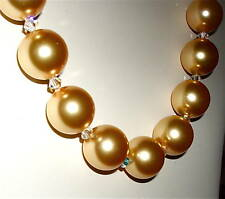 Choker Created with Golden-Colored Swarovski Pearls, Clear Crystals