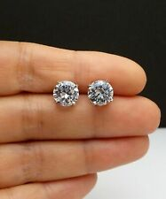 Round Cut 1.00 Ct Diamond Earrings Solid 14 K White Gold Solitaire Studs