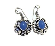Gift For Her !! CHALCEDONY Gemstone 925 Sterling Silver Plated Earring Jewelry