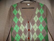 J CREW womens small merino wool cardigan sweater light brown greens argyle EUC