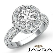 1.7ctw Halo Bezel Side Stone Round Diamond Engagement Ring GIA F-VVS2 White Gold