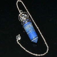 56 MM Long Natural Lapis Bullet Dowsing Pendulum With Chain Healing Crystal