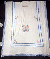 "Vtg Chenille Blanket Bedspread Flowers w/Blue Stripe Trim 88"" x 101"""