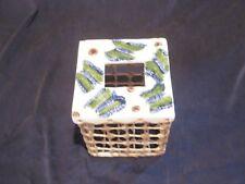 Hand Woven Tissue Box & Bathroom Accessory Set * Raffia & Ceramic * Butterflies