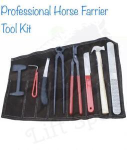 Professional Horse Farrier Tool Kit Hoof Clincher Nipper RASP Hammer Knife Shoe