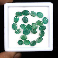 22 Pcs Natural Colombian Emerald 6mm-7.25mm Oval Cut Gemstones Wholesale Lot