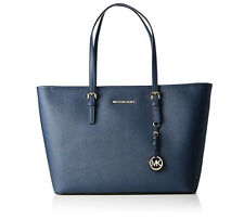 Michael Kors Jet Set Travel Medium Top Zip Multifunction Tote Navy Leather NWT