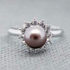 14k white Gold pl Swarovski crystals pearl ring Adjustable size 5 6 7 8 9 10