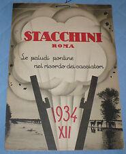 CALENDARIO 1934 ERA FASCISTA STACCHINI ROMA PALUDI PONTINE POLVERI DA CACCIA