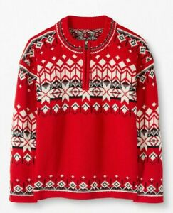 Hanna Andersson 150 12 Snö Happy Heritage Red Holiday Fair Isle Sweater