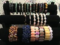 A Selection of Stunning & Collectable Elasticated Genuine Gemstone Bracelets