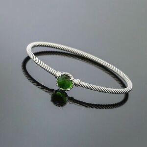 David Yurman Sterling Silver Green Peridot 3mm Cable Chatelaine Bangle Bracelet