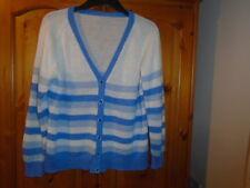Blue and white stripe long sleeve v-neck cardigan, size 14
