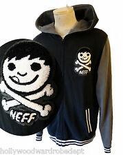 NEFF Letterman Patch medium hoodie black grey jacket happy face crossbone sweats