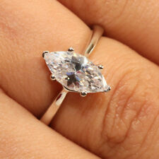 1Ct Marquise Cut Diamond Solitaire Engagement Ring in 18k White Gold Finish 5