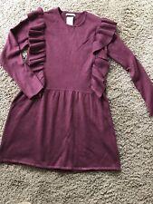 New Zara Girls Wine Ruffle Front Sweater Dress 10 Fancy Winter So Soft Viscose