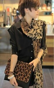 LONG ANIMAL LEOPARD PRINT SHEER CHIFFON SCARF ( WRAP SHAWL ) BNIP