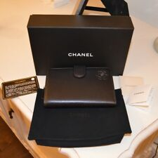 dd691a1d1f3fe2 CHANEL Black Leather Silver HW Camellia French Purse L-zip Pocket Wallet