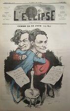 COMME CA SE JOUE  CARICATURE de GILL JOURNAL SATIRIQUE L'ECLIPSE N° 79 de 1869