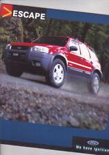 2001 FORD ESCAPE 4x4 Australian 16p Brochure + Specs Accessories MAZDA TRIBUTE