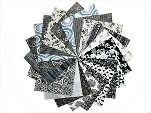 68 5 inch Quilting Fabric Squares Black and Whites