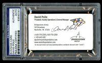 David Poile signed autograph auto Nashville Predators GM Business Card PSA Slab