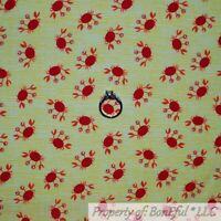 BonEful FABRIC FQ Cotton Quilt Yellow White Red CRAB Sea Food Ocean Beach Baby S