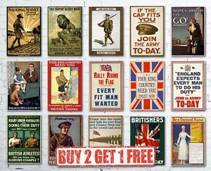 Vintage High Quality British WW1 World War I Propaganda Posters Retro Large A2