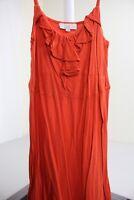 Ann Taylor LOFT Cotton & Rayon Blend Orange Spaghetti Strap Mini Dress Size - PM