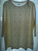 Basic Editions Ivory Cream Off White Lace Front 3/4 Sleeve Knit Shirt Top 2X NWT