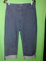 1283) NYDJ 4 Crop dark wash straight straight denim stretch jeans front zip 4