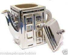 DR235 Doctor Who~Chrome~50 Years~Tardis Teapot Time Machine BBC Police Call Box