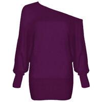 Big Plus Size Ladies One Off Shoulder Baggy Top Women Batwing Long Sleeve Blouse