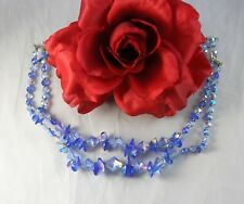 Vintage 2 Strand Dazzling Blue Crystal Beaded  Necklace FERAL CAT RESCUE