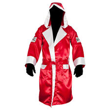 Cleto Reyes Satin Boxing Robe with Hood - Red/White