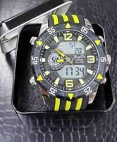 Orologio Polso 1508 Uomo Dual Time Analogico Digitale Sveglia Sport Giallo lac