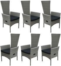 KMH® 6 Polyrattan Hochlehner Grau Gartenstuhl Gartensessel Stapelbar Set  Sessel