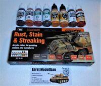 Acryl Effects Farbset Rost Schmutz Rust Stain Streaking 8 Farben Vallejo 70183