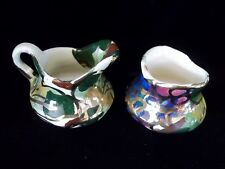 Calpotter Laguna Beach California Pottery Green Gold Creamer Sugar Signed 40's