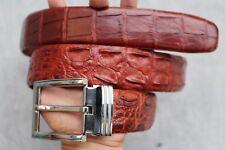 W 4cm - Red Brown Genuine Alligator, CROCODILE Leather Skin Men's Belt #LT0158