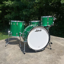 """Ludwig Classic Maple Fab 3pc  22"""" 13"""" 16"""" in Green Sparkle with Free  14"""" Snare!"""