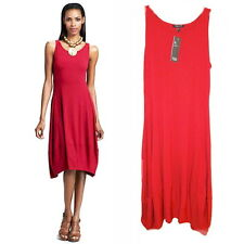 Eileen Fisher Lantern Dress Petite Small Red Stretch Jersey High Low Hem NWT